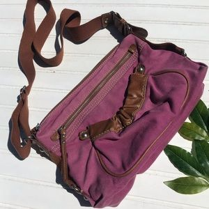 Fossil Lavender Canvas & Leather Crossbody